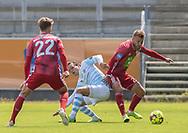 Frederik Bay (FC Helsingør) i kamp med Frederik Gytkjær (Lyngby Boldklub) under træningskampen mellem Lyngby Boldklub og FC Helsingør den 3. juli 2019 på Lyngby Stadion (Foto: Claus Birch)