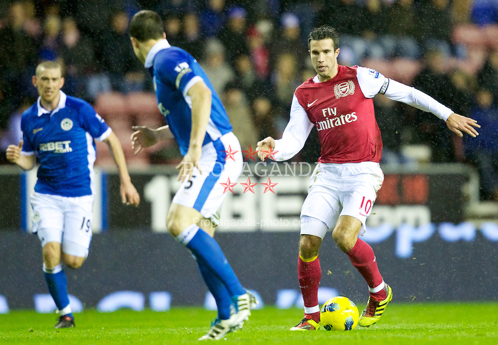 WIGAN, ENGLAND - Saturday, December 3, 2011: Arsenal's captain Robin van Persie in action against Wigan Athletic during the Premiership match at the DW Stadium. (Pic by Vegard Grott/Propaganda)