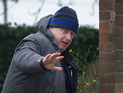 © Licensed to London News Pictures. 21/02/2016. Thame, UK. Boris Johnson is seen leaving his Oxfordshire home. The London Mayor is yet to announce if he will support an EU exit vote or back the Prime Minister. Photo credit: Peter Macdiarmid/LNP