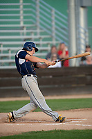 KELOWNA, BC - JULY 17:  Ryan Altenberger #1 of the Wenatchee Applesox hits the ball against the the Kelowna Falcons at Elks Stadium on July 17, 2019 in Kelowna, Canada. (Photo by Marissa Baecker/Shoot the Breeze)