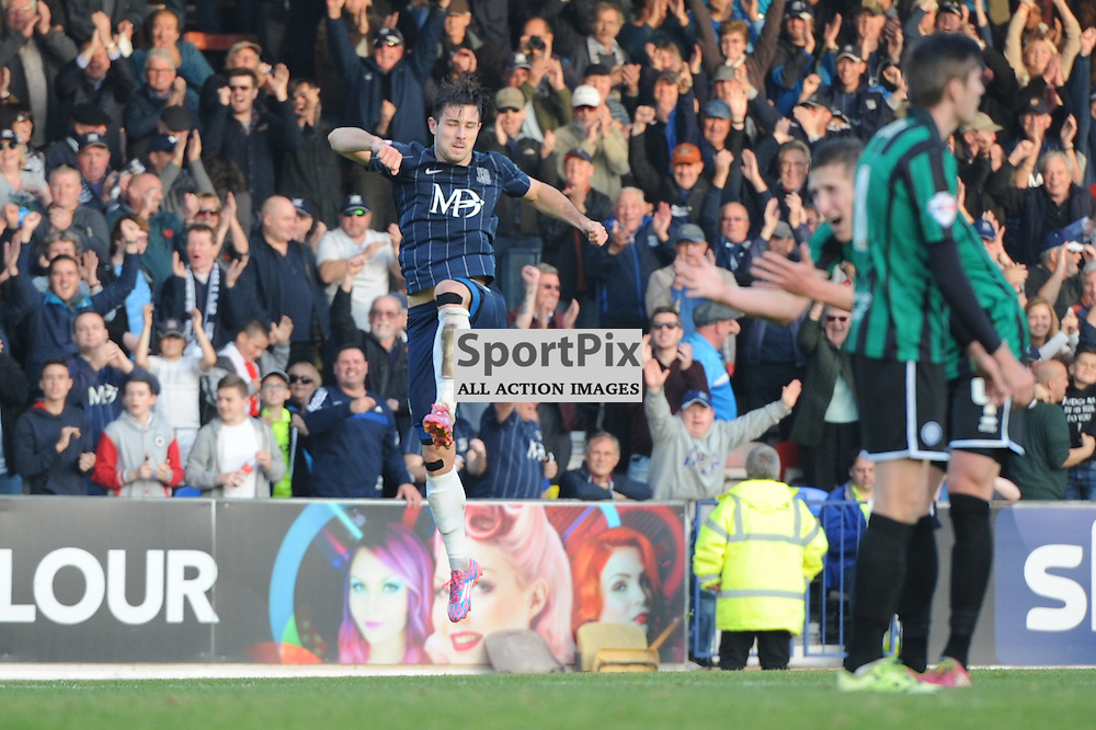 Southends Ryan Leonard celebrates scoring Southends second goal during the Southend v Rochdale game in Sky Bet League 1 on the 31st October 2015
