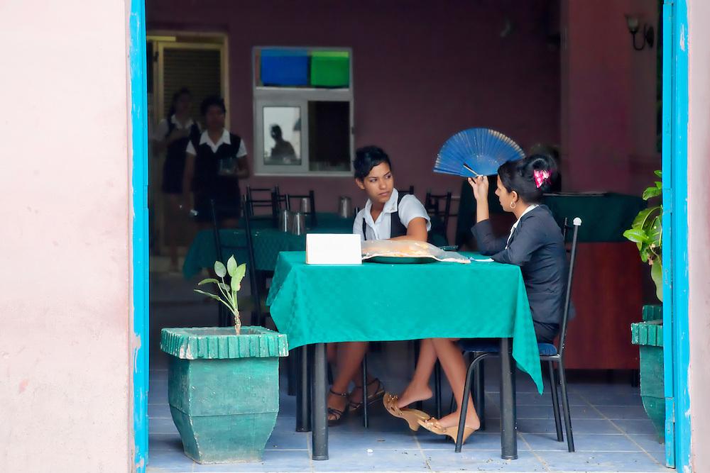 Waitresses in Holguin, Cuba.