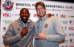 Rohndell Goodwin and Michael Vigor at the Bristol Flyers 2017/18 launch event at Ashton Gate - Mandatory by-line: Robbie Stephenson/JMP - 11/09/2017 - BASKETBALL - Ashton Gate - Bristol, England - Bristol Flyers 2017/18 Season Launch