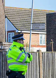 © Licensed to London News Pictures. 15/02/2018. London, UK. Goldwing Close, East London, where a 17-year-old boy was fatally stabbed. Police and London Ambulance Service attended but the victim was pronounced dead at the scene. A murder investigation has been launched. Photo credit: Rob Pinney/LNP