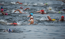 © Licensed to London News Pictures. 25/12/2016. London, UK. Swimmers enter the water. Members of the Serpentine Swimming Club brave the cold waters at the Serpentine Lake in Hyde Park, London to compete for the traditional Peter Pan Cup on Christmas Day, December 25, 2016. Photo credit: Ben Cawthra/LNP