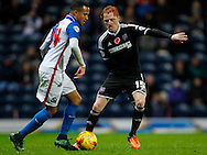 Marcus Olsson of Blackburn Rovers and Ryan Woods of Brentford during the Sky Bet Championship match between Blackburn Rovers and Brentford at Ewood Park, Blackburn<br /> Picture by Mark D Fuller/Focus Images Ltd +44 7774 216216<br /> 07/11/2015