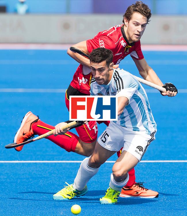 BHUBANESWAR - The Odisha Men's Hockey World League Final . Match ID 03. Argentina v Belgium. Diego Paz (Arg)  with Nicolas de Kerpel (Bel) .  WORLDSPORTPICS COPYRIGHT  KOEN SUYK