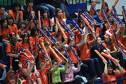 Fans of ACH at last final volleyball match of 1.DOL Radenska Classic between OK ACH Volley and Salonit Anhovo, on April 21, 2009, in Arena SGS Radovljica, Slovenia. ACH Volley won the match 3:0 and became Slovenian Champion. (Photo by Vid Ponikvar / Sportida)