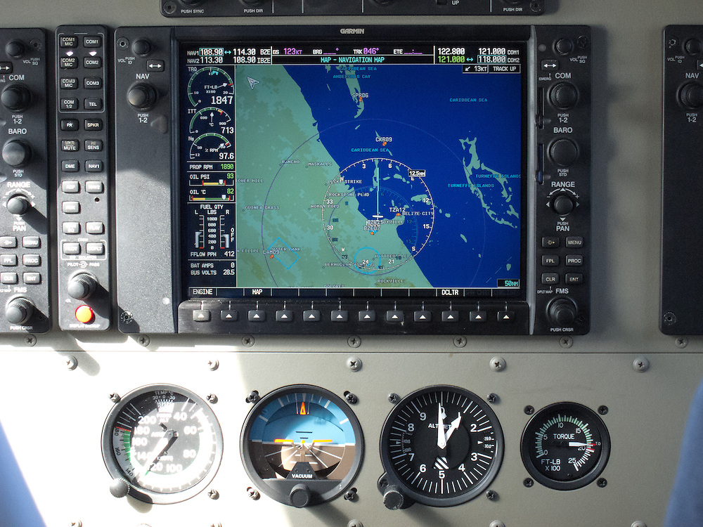 Belize City, Belize 8/31/2012.Instrument panel of our Tropic Air Cessna Grand Caravan..Alex Jones / www.alexjonesphoto.com