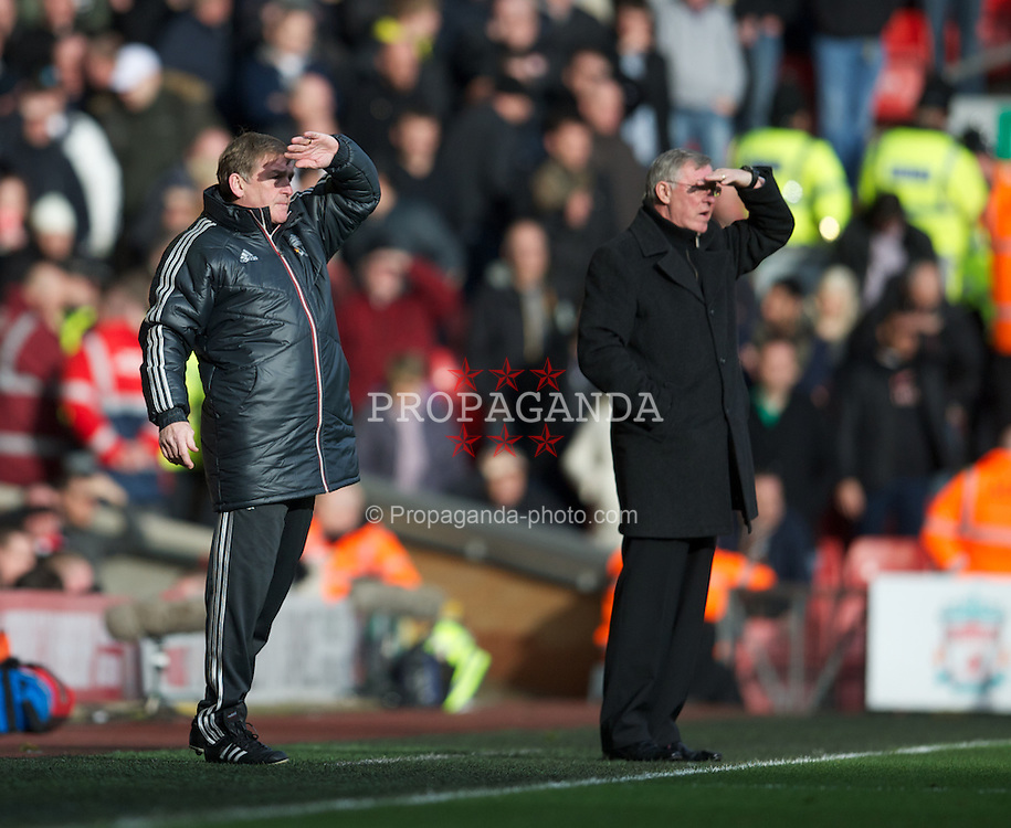 LIVERPOOL, ENGLAND - Saturday, January 28, 2012: Liverpool's manager Kenny Dalglish and Manchester United's manager Alex Ferguson during the FA Cup 4th Round match at Anfield. (Pic by David Rawcliffe/Propaganda)