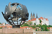 MEISSEN, GERMANY - MAY 22, 2010: View to the peace sculpture with Albrechtsburg castle and Meissen cathedral at the background in Meissen, Germany.