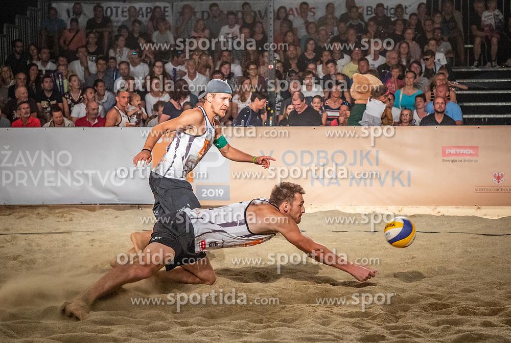Danijel Pokersnik /Sergej Drobnic and Vid Jakopin / Tadej Bozenk during the match for 1st. place on Beach volley National Championship of Slovenia  on July 20, 2019 in Kranj, Slovenia. Photo by Urban Meglic / Sportida