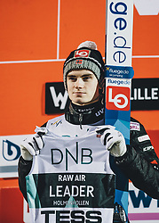 09.03.2020, Lysgards Schanze, Lillehammer, NOR, FIS Weltcup Skisprung, Raw Air, Lillehammer, Herren, Siegerehrung, im Bild Marius Lindvik (NOR) // Leader Marius Lindvik of Norway during the winner ceremony for the men's 2nd Stage of the Raw Air Series of FIS Ski Jumping World Cup at the Lysgards Schanze in Lillehammer, Norway on 2020/03/09. EXPA Pictures © 2020, PhotoCredit: EXPA/ JFK