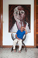 "Barranco, resident arrtists.  The famous painter Victor Delfin portrait with one of his works in his ""casa-taller"""