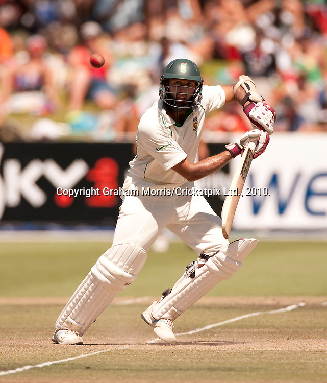 Hashim Amla bats during the third Test Match between South Africa and England at Newlands, Cape Town. Photograph © Graham Morris/cricketpix.com (Tel: +44 (0)20 8969 4192; Email: sales@cricketpix.com)