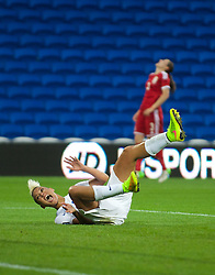 CARDIFF, WALES - Tuesday, August 21, 2014: England's Lianne Sanderson celebrates scoring the fourth goal against Wales during the FIFA Women's World Cup Canada 2015 Qualifying Group 6 match at the Cardiff City Stadium. (Pic by Ian Cook/Propaganda)