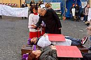 Roma, 23  Febbraio 2015 <br /> Manifestazione di lavoratori della sanità, a rischio licenziamento dell' Aurelia Hospital, della European Hospital e della casa di Cura Città di Roma, dopo i 160 licenziamenti collettivi avviati dalla proprietà  e altri 2000 lavoratori rischiano il licenziamento perchè la Regione Lazio ha tagliato i fondi per le prestazioni salvavita. I lavoratori fanno il funerale alla sanità davanti a Montecitorio<br /> Rome, February 23, 2015<br /> Demonstration by health workers, at risk of dismissal of the Aurelia Hospital, the European Hospital and Home Care City of Rome, after 160 redundancies initiated by property,another 2000 workers risk dismissal because the Lazio Region has cut funds for life-saving performance. The workers make the funeral to the Health in front of Deputies