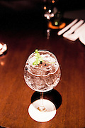 Unico gin and tonic garnished with coriander and whole juniper berries.