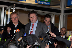 ©London News Picures..Mark Stephens, a lawyer representing Wikieaks founder Julian Assange, answers reporter's questions outside the City of Westminster Magistrates Court in London, on December 14, 2010. Photo credit should read Fuat Akyuz/London News Pictures.