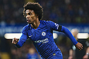 Chelsea forward Willian in action during the Premier League match between Chelsea and Manchester United at Stamford Bridge, London, England on 17 February 2020.