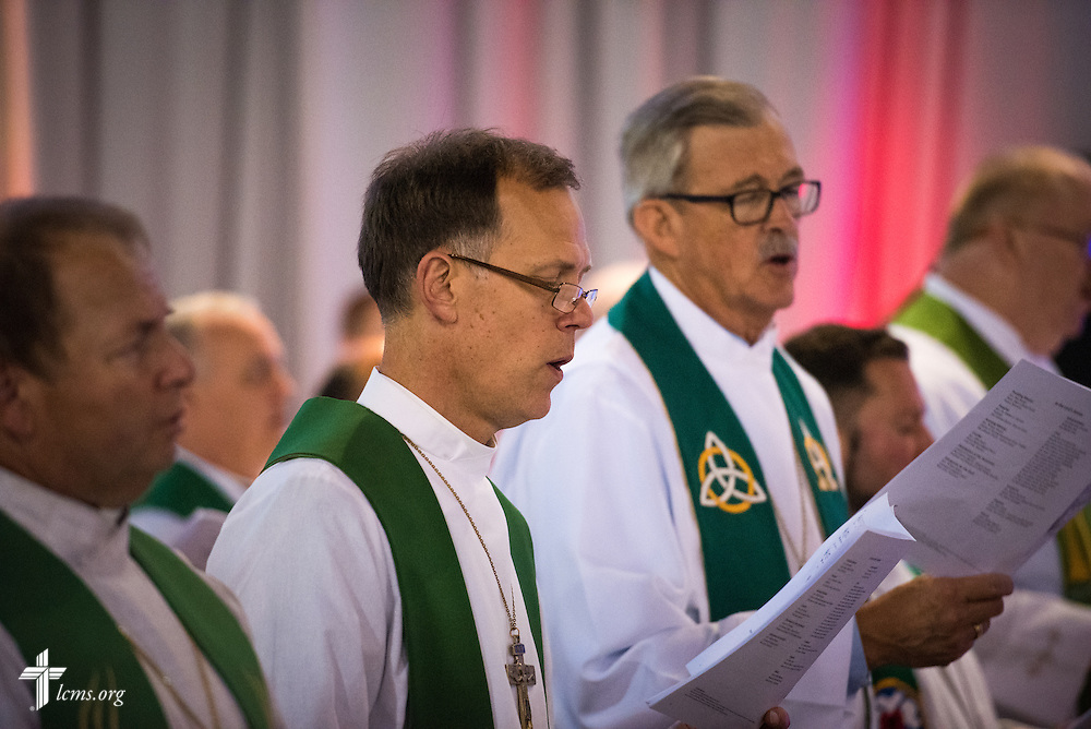 The Rev. John E. Hill, president of the Wyoming District, worships during the Opening Divine Service of the 66th Regular Convention of The Lutheran Church–Missouri Synod on Saturday, July 9, 2016, at the Wisconsin Center in Milwaukee. LCMS/Michael Schuermann