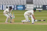 Colin Ackemann sweeps Ollie Rayner for 4 during the Specsavers County Champ Div 2 match between Middlesex County Cricket Club and Leicestershire County Cricket Club at Lord's Cricket Ground, St John's Wood, United Kingdom on 17 May 2019.