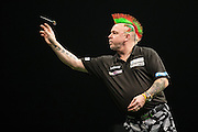 Peter Wright in action during the Premier League Darts  at the Motorpoint Arena, Cardiff, Wales on 31 March 2016. Photo by Shane Healey.