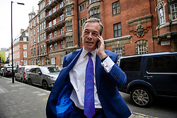 © Licensed to London News Pictures. 05/05/2017. London, UK. NIGEL FARAGE seen in Westminster on the morning of local and mayoral election results. Local election results are believed to be a possible indicator of how Labour might perform at the general election on June 8. Photo credit: Ben Cawthra/LNP