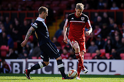 Bristol City Forward Jonathan Stead (ENG) is challenged by Huddersfield Defender Peter Clarke (ENG) during the second half of the match - Photo mandatory by-line: Rogan Thomson/JMP - Tel: Mobile: 07966 386802 27/04/2013 - SPORT - FOOTBALL - Ashton Gate - Bristol. Bristol City v Huddersfield Town - npower Football League Championship.