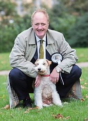 Conservative MP Simon Reevel is pictured with his dog Harry, as he competed in the annual Westminster Dog of the Year 2013 this morning. London, United Kingdom. Thursday, 10th October 2013. Picture by i-Images