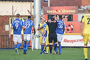 Southports Liam Hynes shown a straight red card during the Vanarama National League match between Southport and Eastleigh at the Merseyrail Community Stadium, Southport, United Kingdom on 17 December 2016. Photo by Pete Burns.