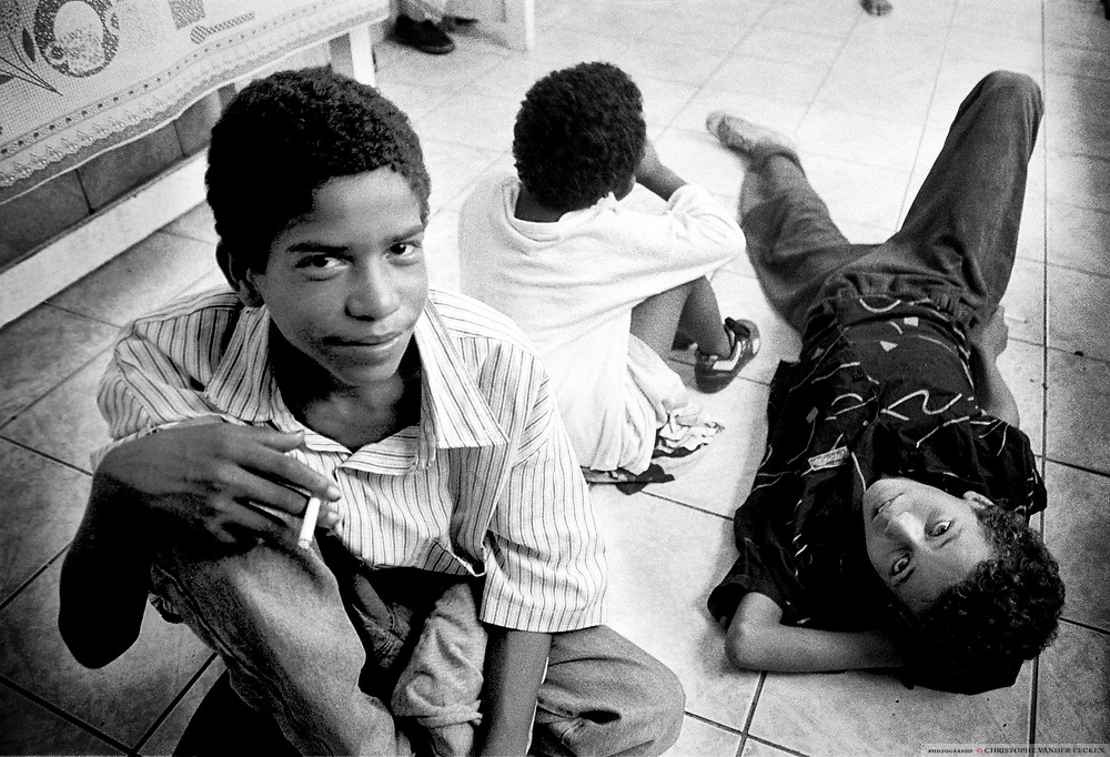 SAO PAULO, BRAZIL - febr. 1996 - SOCIAL, streetchildren at a daycare for misused children....©Christophe VANDER EECKEN