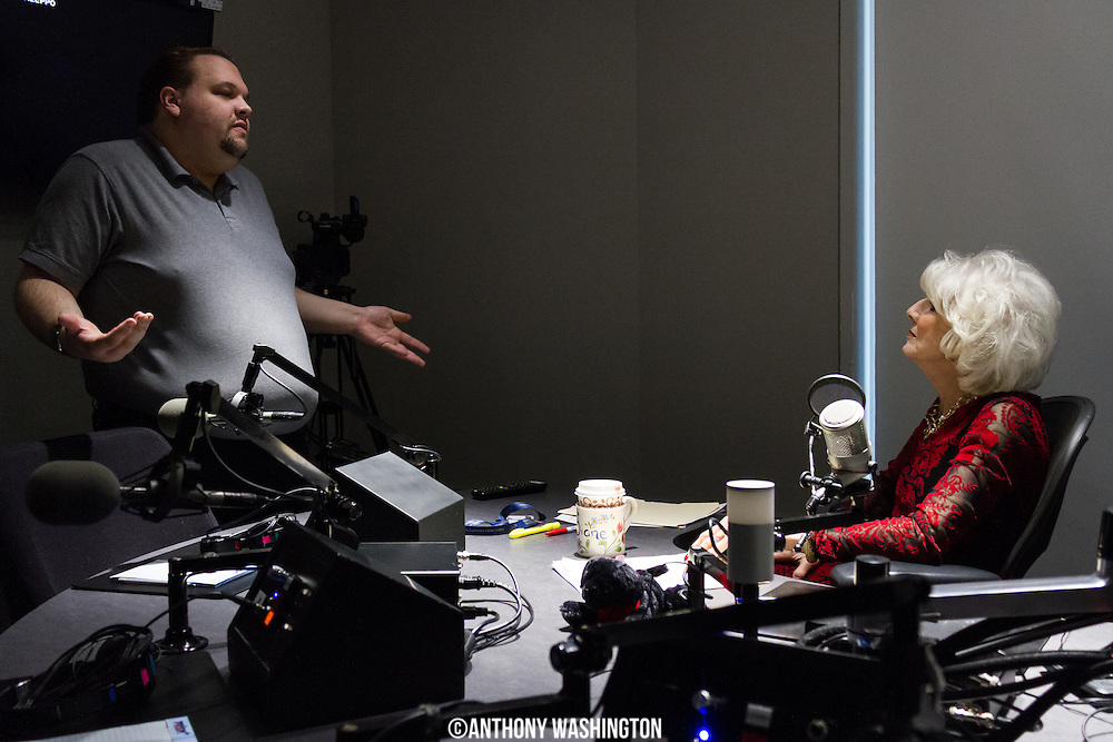 Diane Rehm, host of The Diane Rehm Show, talks with engineer Doug Bell before hosting her final show on Friday, December 23, 2017 at WAMU 88.5 in Washington, DC.