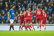 Scott McKenna (#5) of Aberdeen FC celebrates after scoring a goal during the Ladbrokes Scottish Premiership match between Rangers and Aberdeen at Ibrox, Glasgow, Scotland on 5 December 2018.