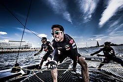 2015 Extreme Sailing Series - Act 5 - Hamburg.<br /> Team Turx skippered by Edhem Dirvana (TUR) and Mitch Booth (AUS) and crewed by Selim Kakis (TUR), Diogo Cayolla (POR) and Pedro Andrade (POR).<br /> Credit Jesus Renado.