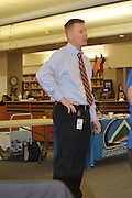 Sam Houston MTSC Principal Alan Summers answers questions from parents at an update on construction of the new school.