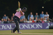 Middlesex all-rounder James Franklin batting during the NatWest T20 Blast South Group match between Middlesex County Cricket Club and Hampshire County Cricket Club at Uxbridge Cricket Ground, Uxbridge, United Kingdom on 27 May 2016. Photo by David Vokes.