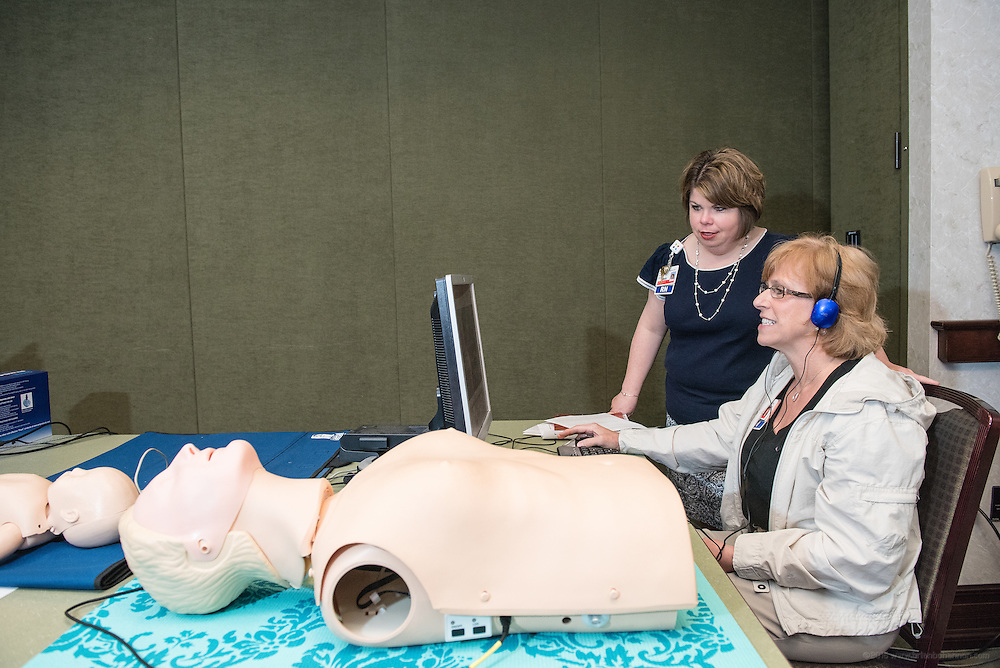 Registered Nurses Kim Wilder and Jami Chafin study training materials in the Heart Code Room Thursday, May 21, 2015 at Baptist Health in Lexington, Ky. (Photo by Brian Bohannon/Videobred for Baptist Health)
