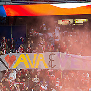 Mar 19, 2016; Harrison, NJ, USA;New York Red Bull  supporters show a tifo before a game against  Houston Dynamo in the first half at Red Bull Arena. Red Bulls defeat the Dynamo 4-3. Mandatory Credit: William Hauser-USA TODAY Sports