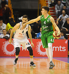 Branislav Ratkovica #6 of Partizan vs Jan Barbaric #4 of KK Union Olimpija during basketball match between KK Partizan Beograd and KK Union Olimpija Ljubljana in Round #5 of ABA League 2016/17, on October 16, 2016 in Beograd, Serbia. Photo by Nebojsa Parausic / Sportida