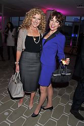 Left to right, KELLY HOPPEN and KATHY LETTE at a private view of photographs by Joanna Vestey entitled 'Dreams For My Daughter' in aid of The White Ribbon Alliance, held at The Royal Festival Hall, South Bank, London on 8th March 2012.