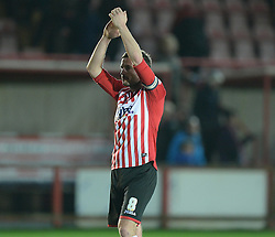 Exeter City's Matt Oakley laps the home fans. - Photo mandatory by-line: Alex James/JMP - Mobile: 07966 386802 - 10/01/2015 - SPORT - football - Exeter - St James Park - Exeter City v Northampton - Sky Bet League Two