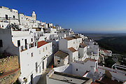 Pueblo blanco historic village whitewashed houses  hillside, Vejer de la Frontera, Cadiz Province, Spain