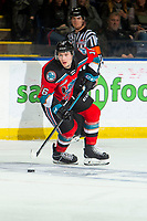 KELOWNA, BC - NOVEMBER 1:  Michael Farren #16 of the Kelowna Rockets skates with the puck against the Prince George Cougars at Prospera Place on November 1, 2019 in Kelowna, Canada. (Photo by Marissa Baecker/Shoot the Breeze)