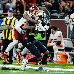 Nov 19, 2017; New Orleans, LA, USA; New Orleans Saints wide receiver Michael Thomas (13) catches a pass over Washington Redskins safety DeAngelo Hall (23) during the second quarter of a game at the Mercedes-Benz Superdome. Mandatory Credit: Derick E. Hingle-USA TODAY Sports