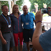 August 16, 2014, New Haven, CT:<br /> Caroline Wozniacki greets box holders in the Baseline Tap House during WTA All-Access Hour on day three of the 2014 Connecticut Open at the Yale University Tennis Center in New Haven, Connecticut Sunday, August 17, 2014.<br /> (Photo by Billie Weiss/Connecticut Open)