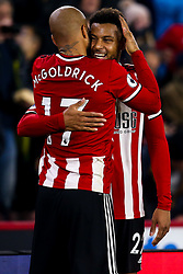 Lys Mousset of Sheffield United celebrates with teammate David McGoldrick of Sheffield United after scoring a goal to make it 2-0 - Mandatory by-line: Robbie Stephenson/JMP - 24/11/2019 - FOOTBALL - Bramall Lane - Sheffield, England - Sheffield United v Manchester United - Premier League