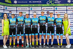 Andi Bajc (SLO) of Team Felbermayr Simplon Wels, Fabian Steininger (AUT) of Team Felbermayr Simplon Wels, Matthias Krizek (AUT) of Team Felbermayr Simplon Wels, Daniel Lehner (AUT) of Team Felbermayr Simplon Wels, Matthias Mangertseder (GER) of Team Felbermayr Simplon Wels, Stephan Rabitsch (AUT) of Team Felbermayr Simplon Wels and Florian Kierner (AUT) of Team Felbermayr Simplon Wels during 1st Stage of 26th Tour of Slovenia 2019 cycling race between Ljubljana and Rogaska Slatina (171 km), on June 19, 2019 in  Slovenia. Photo by Matic Klansek Velej / Sportida