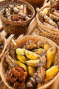 Baskets of food for elephants - bananas, sugar cane and tamarind - at Patara Elephant Farm; Chiang Mai province, Thailand.