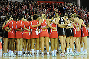 Players from both teams gather after the match, during New World Netball Series, New Zealand Silver Ferns v England at The ILT Velodrome, Invercargill, New Zealand. Thursday 6 October 2011 . Photo: Richard Hood photosport.co.nz